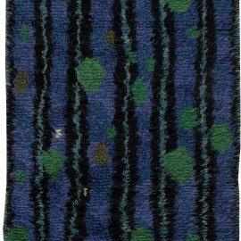 Mid-Century Modern Swedish Rya Rug in Lapis Blue, Emerald Green, and Black BB6396