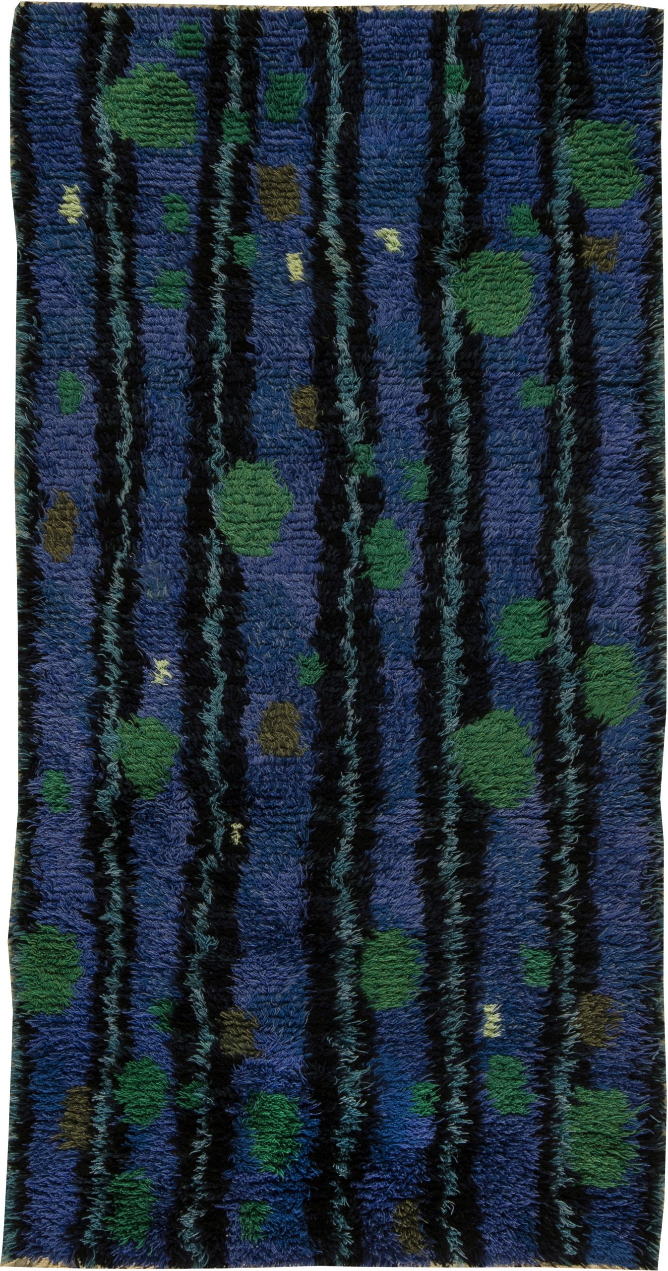 Picture of: Mid Century Modern Swedish Rya Rug In Lapis Blue Emerald Green And Black Bb6396 By Dlb