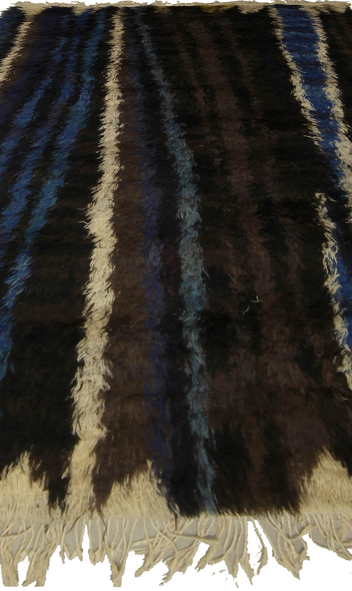 Swedish Black, Navy Blue, Green & Cream Striped Rug by Ingrid Dessau BB5291