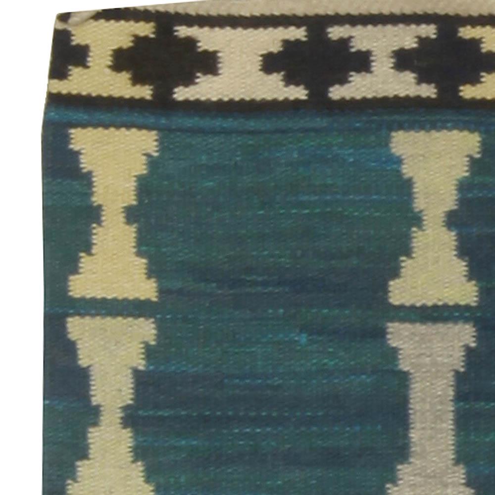 Swedish Handmade Rug in Blue, Light Yellow and Gray BB5300
