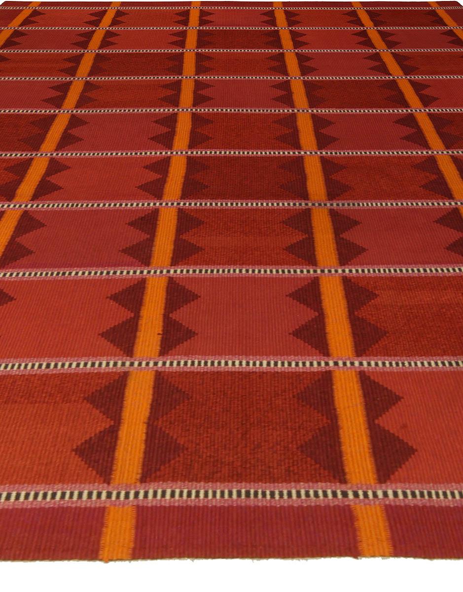 Swedish Midcentury Red & Orange Hand Knotted Wool Rug BB5341