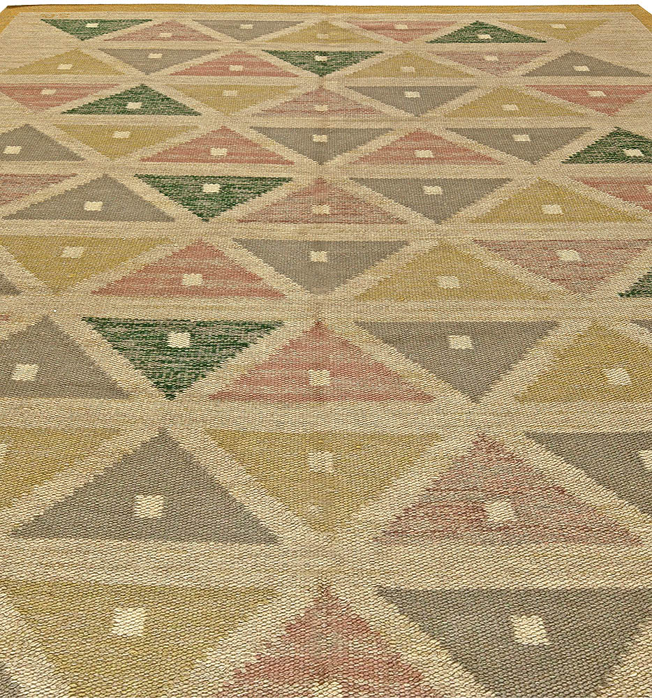 Swedish Triangles Flat-Woven Wool Rug by Sigvard Bernadette BB5823