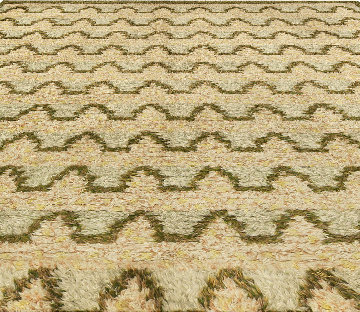 Vintage Swedish Beige and Green Wool Rug by Sigvard Bernadotte BB5105