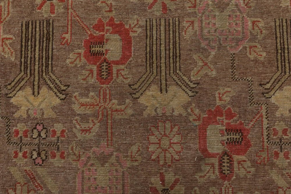 Samarkand Beige, Brown, Carmine and Blush Hand Knotted Wool Rug BB6415