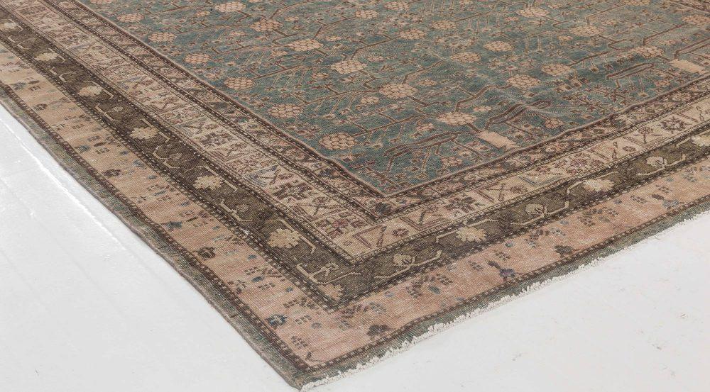 Midcentury Samarkand Deep Indigo and Brown Hand Knotted Wool Rug BB6448
