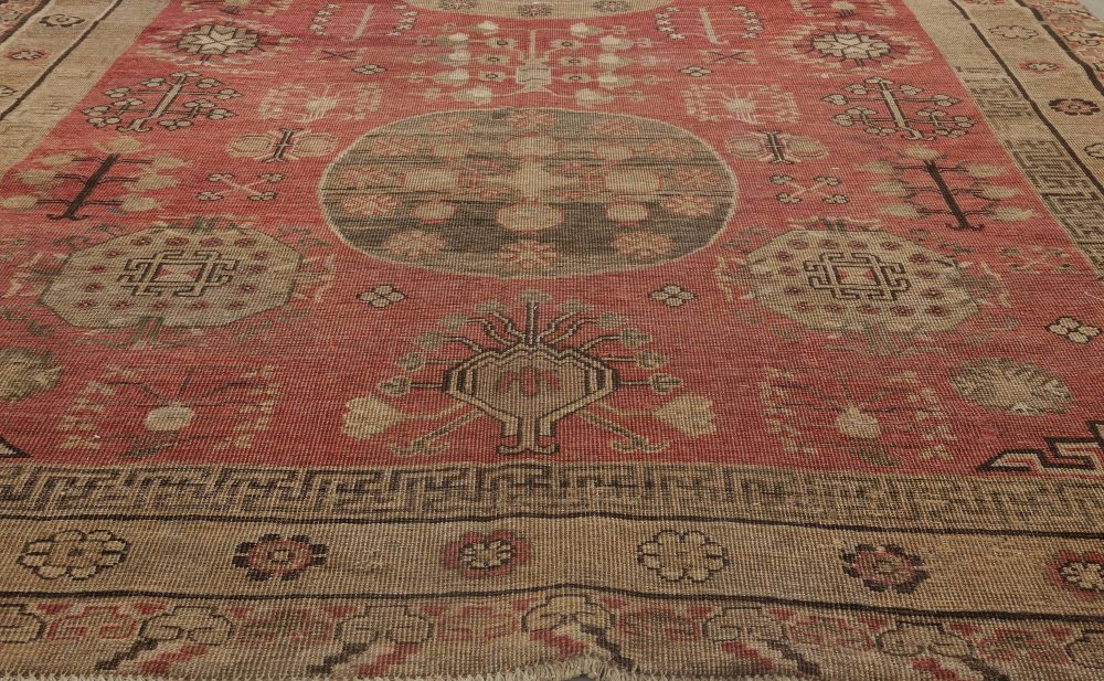 Mid-century Samarkand Red and Brown Handwoven Wool Rug BB6416