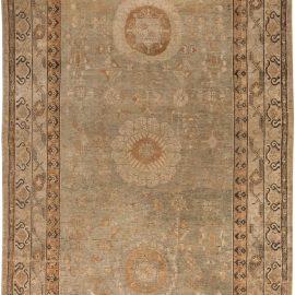 Midcentury Samarkand Sandy Beige, Light and Ebony Brown Wool Rug BB6449