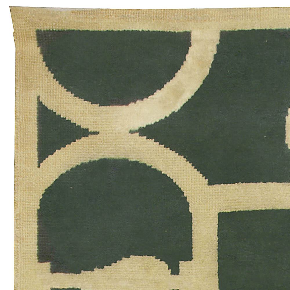 French Art Deco Rug Midcentury Emerald Green and Ivory Rug BB5007