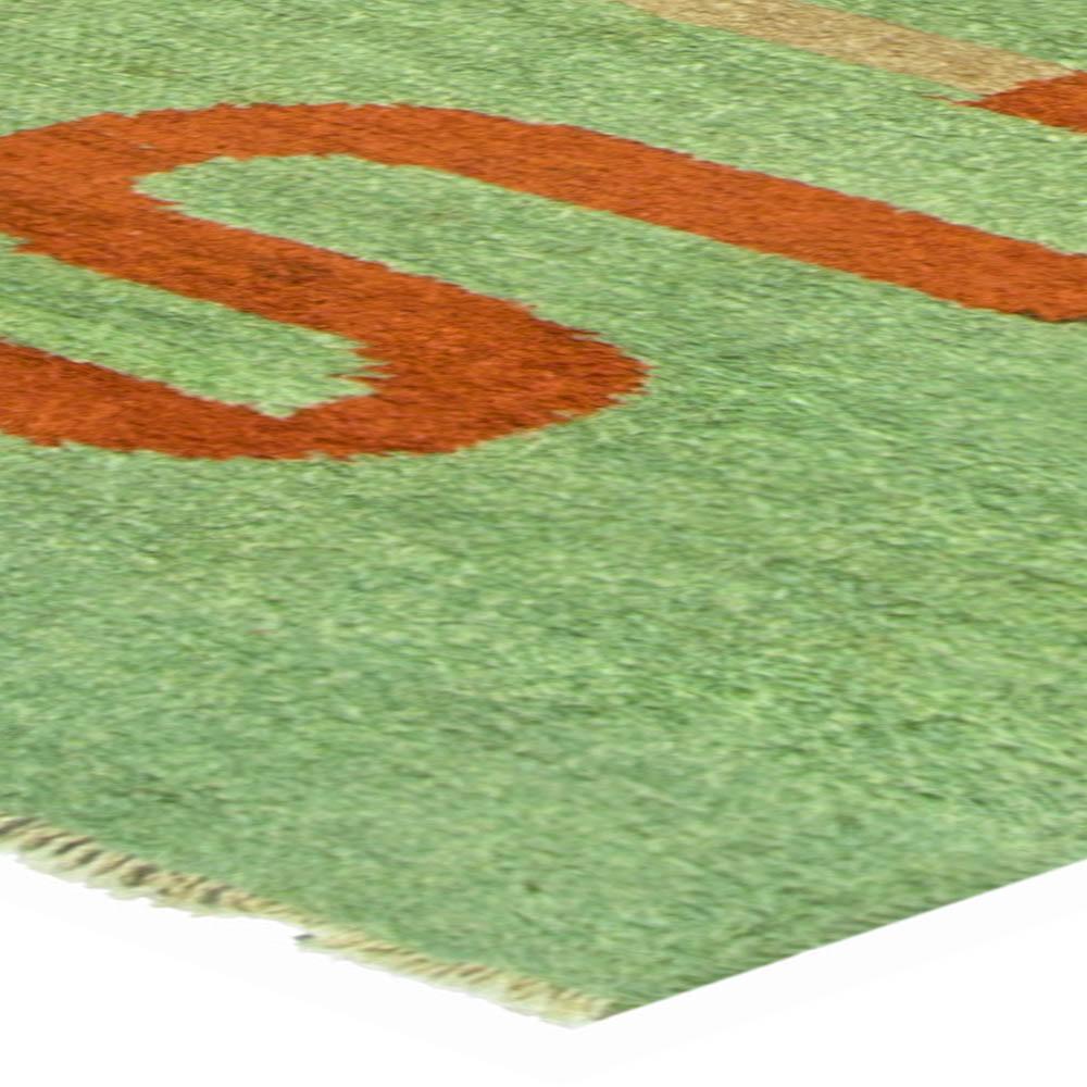 Art Deco Green, Brown & Beige Geometric Hand Knotted Wool Rug BB5229