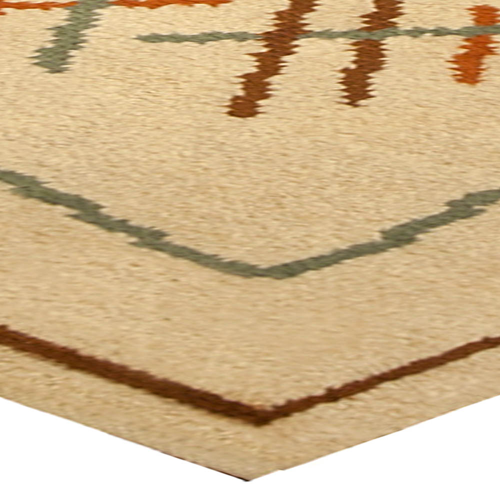 Vintage French Art Deco Ivory, Orange and Bluish Green Wool Rug BB4917