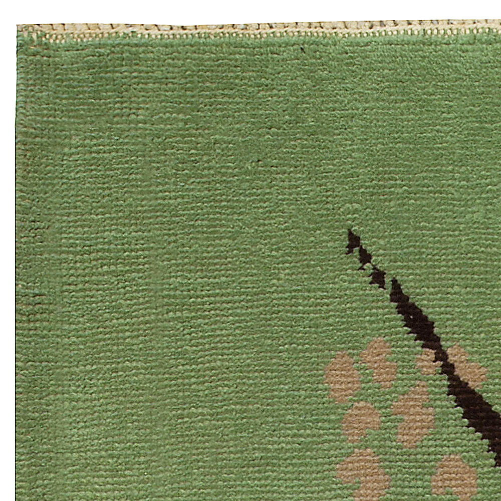 French Art Deco Mid Century Green Handwoven Wool Rug BB5052
