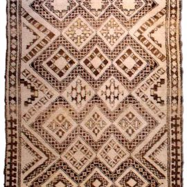 Vintage Tribal Hand-knotted Moroccan Rug in Shades of Beige and Brown BB3510