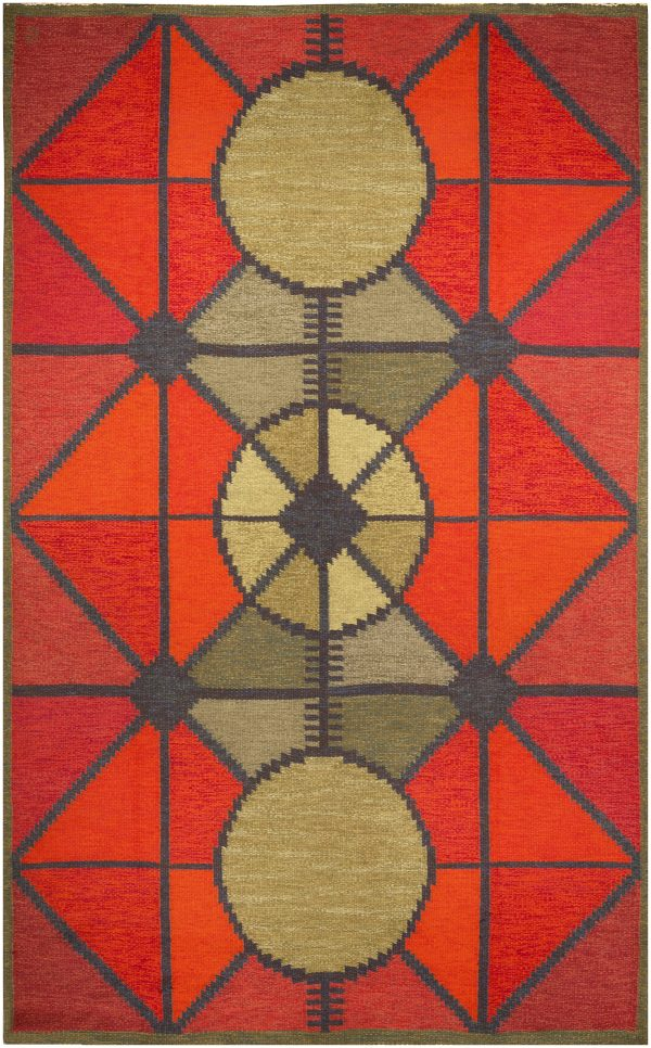Vintage Swedish Flat Woven Rug (Sverige Riolakan) by Polly Bjorkman BB4832