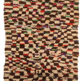 Vintage Tribal Hand-woven Moroccan Rug in Cream, Brown, Red, Green, Yellow, and Blue BB5135