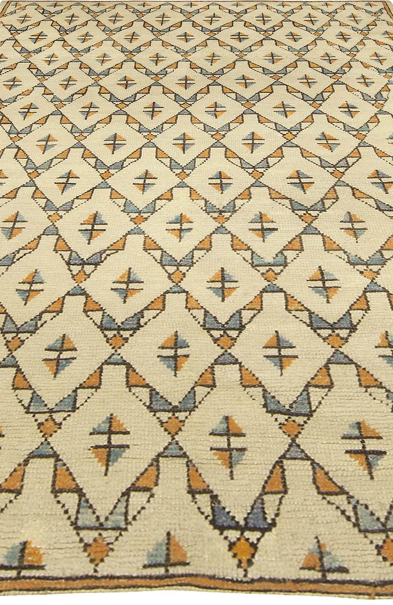 Moroccan Midcentury Beige, Orange and Blue Geometric Handwoven Rug BB5013