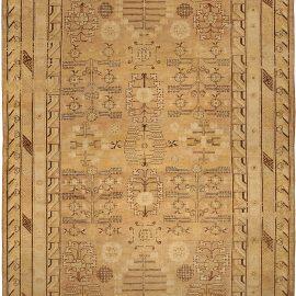 "19th Century Samarkand ""Khotan"" Beige and Brown Handwoven Wool Rug BB4745"