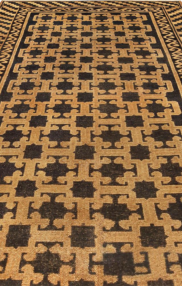 "Vintage Samarkand ""Khotan"" Black, Brown and Beige Handwoven Wool Rug BB5186"