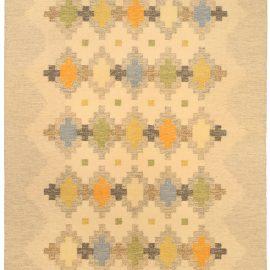 Swedish Green, Orange, Blue, Golden Yellow and Tan Flat-Weave Carpet BB5170