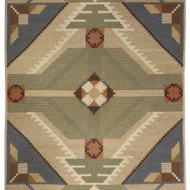 Vintage Swedish Geometric Multicolored Wool Rug BB4942