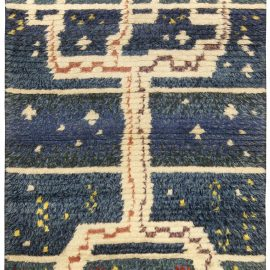 Swedish Pile Rug in Navy Blue and White BB4957