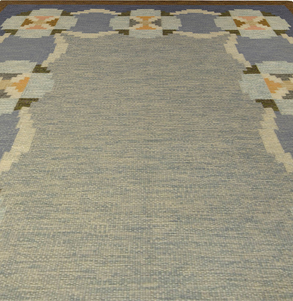 Swedish Blue, Brown, White and Yellow Hand Knotted Wool Rug BB5301