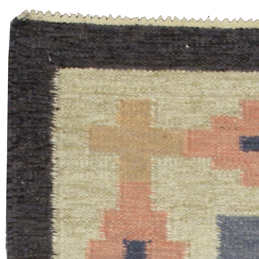 Mid-century Swedish Blue & Pink Rug by A.J BB5319