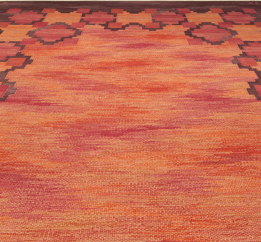 Mid-century Swedish Rölakan Rug in Red, Terracotta, and Brown Tones by Judith Johansson BB5099