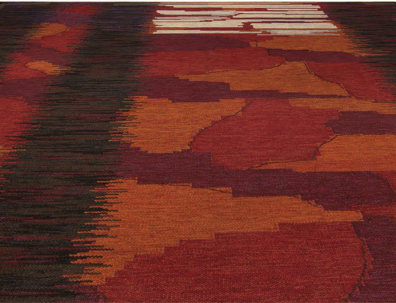 Midcentury Swedish Red, Burgundy and Orange Handwoven Wool Rug BB5104