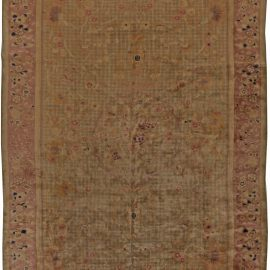 Chinese Art Deco Tan, Blue and Dusty Rose Handwoven Wool Rug BB5544