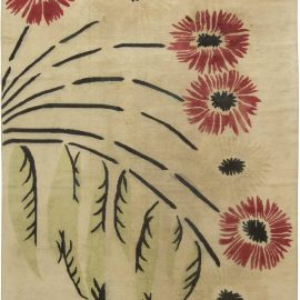 French Art Deco Mid Century Beige, Red and Black Handwoven Wool Rug BB6437