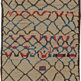 Vintage Tribal Moroccan Wool Rug with Beige Background and Blue, Red, and Black Geometric Design BB5759