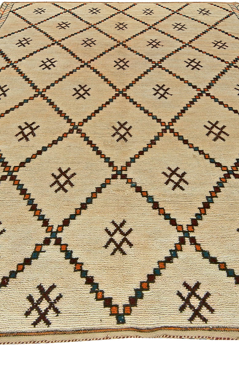 Vintage Tribal Handmade Moroccan Natural Wool Rug with Geometric Design BB5882