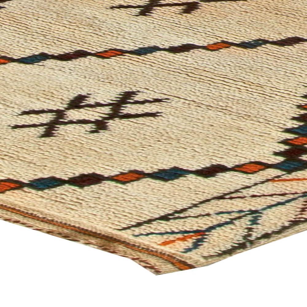 Vintage Tribal Handmade Moroccan Natural Wool Rug with Geometric Design BB5882