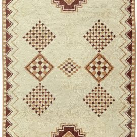 Vintage Tribal Moroccan Natural Wool Rug with Caramel and Brown Geometric Design on Cream Background BB5828