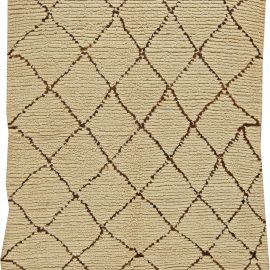 Vintage Tribal Moroccan Wool Rug in Natural Shades of Beige and Brown BB5851