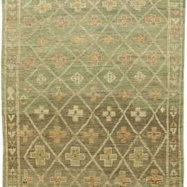 Vintage Moroccan Wool Rug with Tribal Geometric Design on Green Background BB6075