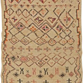 Vintage Tribal Hand-woven Moroccan Natural Wool Rug with Geometric Design BB5847