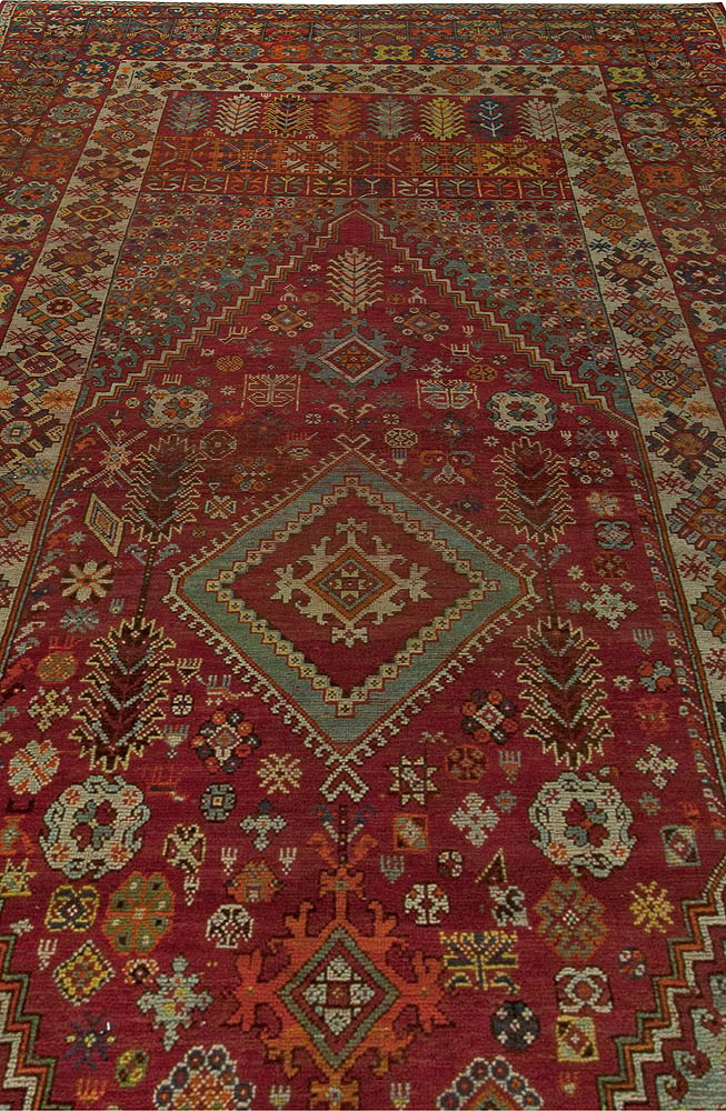 Vintage Moroccan Red, Orange, Blue and Yellow Handwoven Wool Rug BB5966