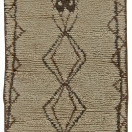 Vintage Tribal Hand-woven Moroccan Natural Wool Rug with Geometric Design in Tan, Brown, and Black BB5763