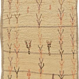 Vintage Tribal Hand-woven Moroccan Natural Wool Rug in Cream, Beige, Rust, Black and Blue BB5785