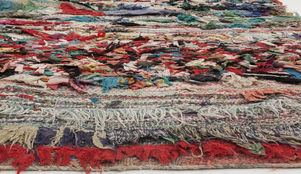 Vintage Moroccan Bright Colorful Hand Knotted Wool and Cotton Runner BB5899