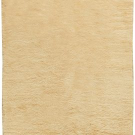 Vintage Mid-Century Hand-knotted Moroccan Area Rug in Cream Wool BB6109