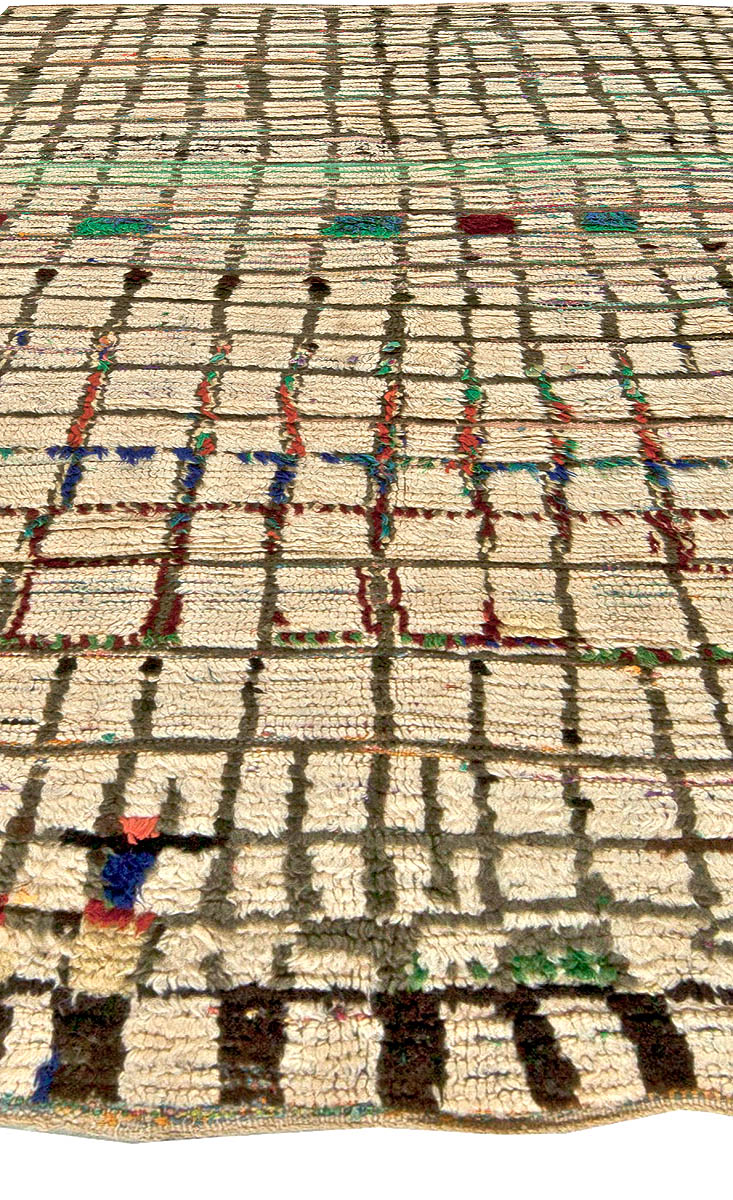 Vintage Moroccan Brown, Green, Blue and Red Handwoven Wool Rug BB5764