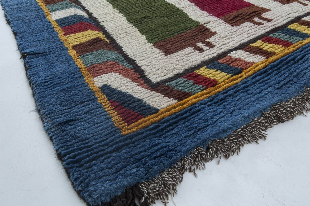Moroccan Midcentury Red, Green, Yellow and Navy Blue Handwoven Rug BB6333