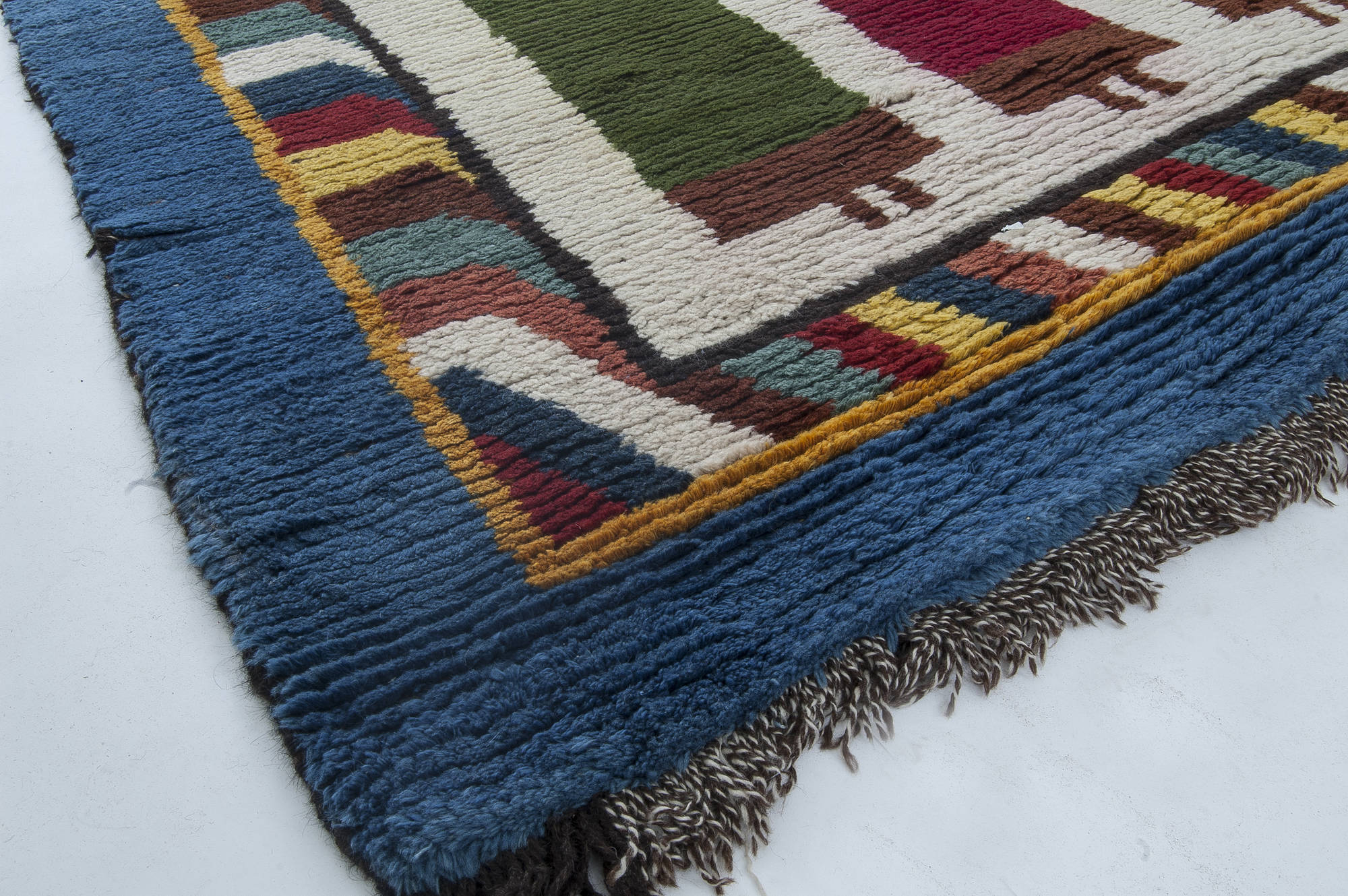 Moroccan Midcentury Red Green Yellow And Navy Blue Handwoven Rug Bb6333 By Dlb