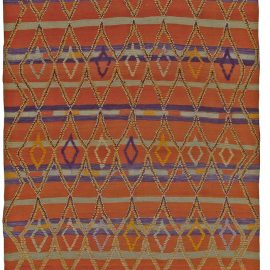 Vintage Tribal Hand-woven Moroccan Rug in Terracotta, Violet, and Ivory BB5487