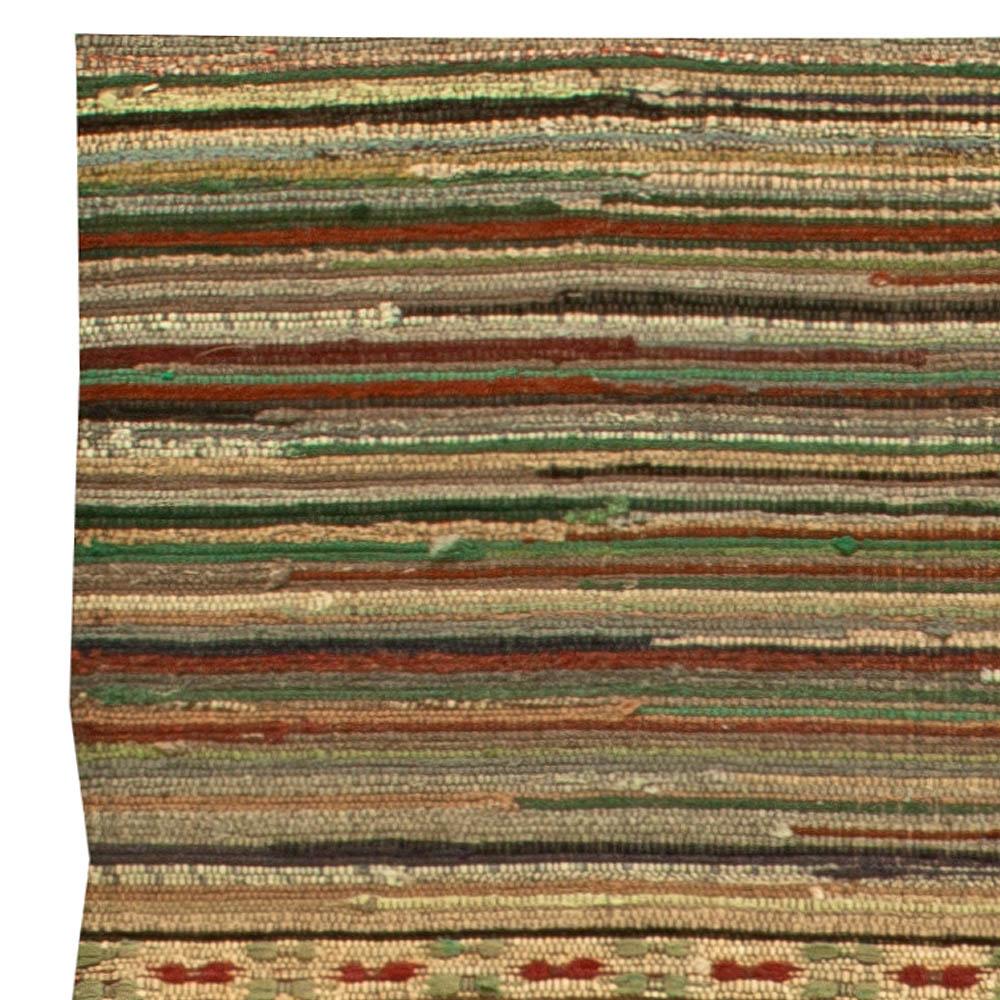 Geometric Red, Blue, Brown, Yellow and Green Wool American Rag Rug BB6148
