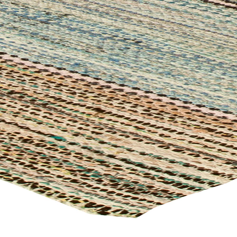 Midcentury American Striped Blue and Beige Wool Rag Rug BB6147