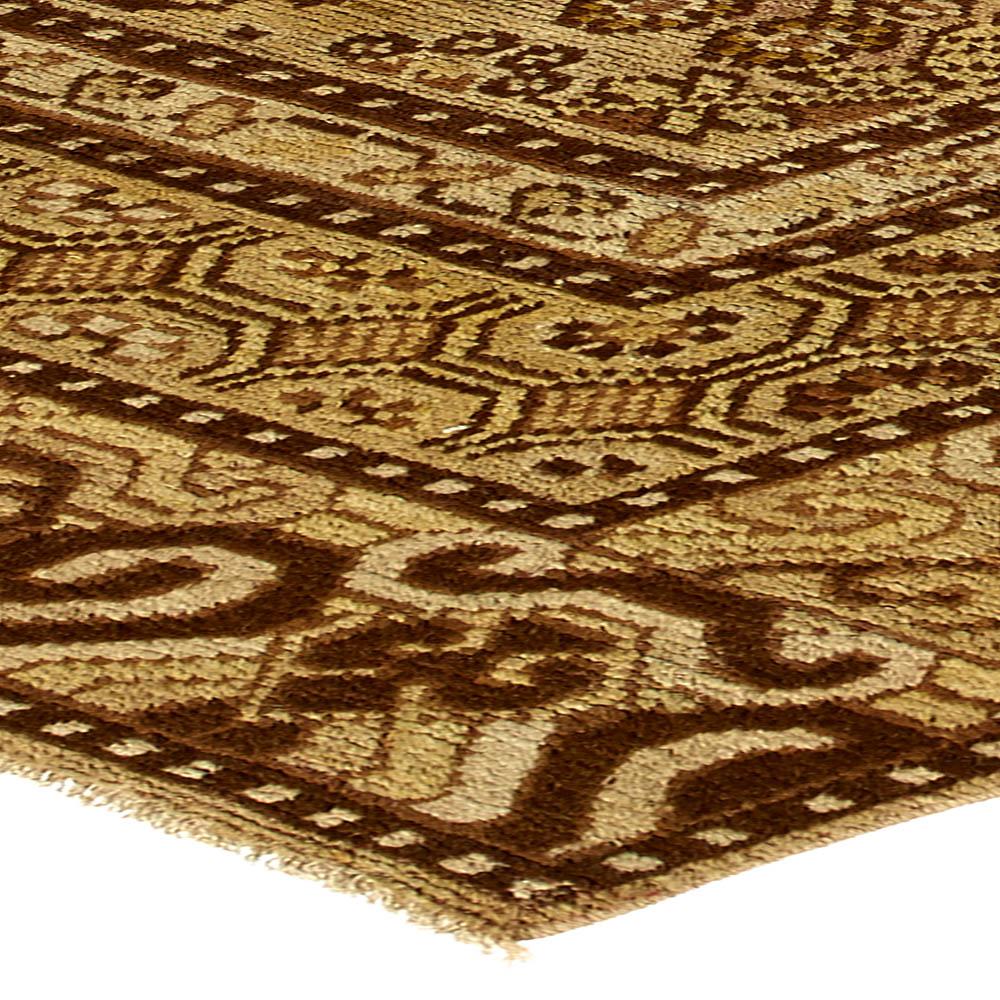 Vintage Samarkand Khotan Camel and Brown Handwoven Wool Rug BB4386