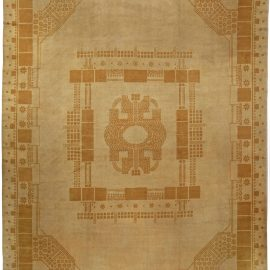 Vintage Light Beige Viennese Secessionist Handwoven Wool Rug BB5056
